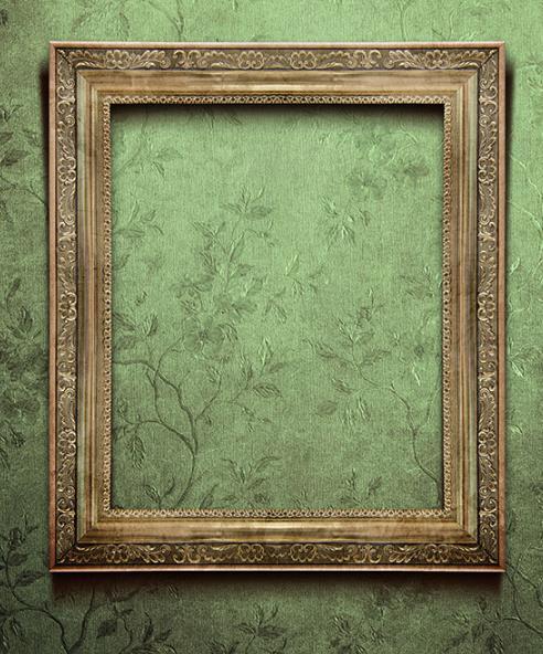 高清图片中采用欧式风格构成具有艺术的画框,背景是淡绿色的藤蔓墙纸