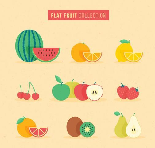 卡通创意彩色水果矢量图