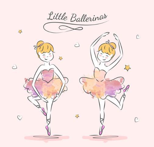 唯美手绘跳芭蕾舞的女孩矢量图片素材