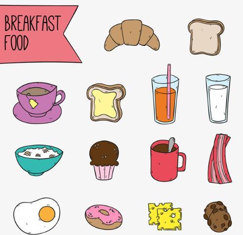 首页 资源下载 平面素材 矢量素材 卡通 > 卡通彩绘美味早餐食物ai