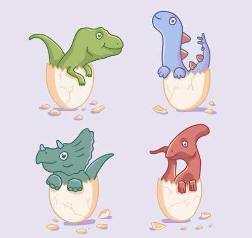 首页 资源下载 平面素材 矢量素材 动物 > 卡通4款破壳而出的远古恐龙