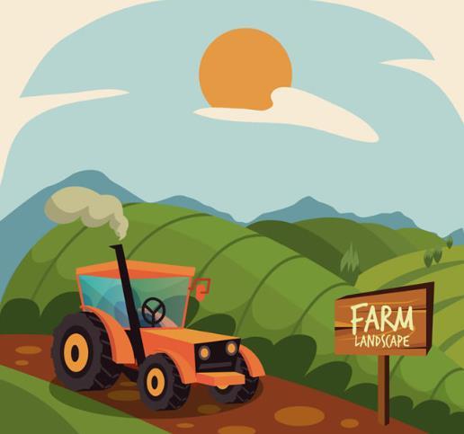 农场和行驶的拖拉机矢量素材中就设计了一组在乡里田间中农作为主题的