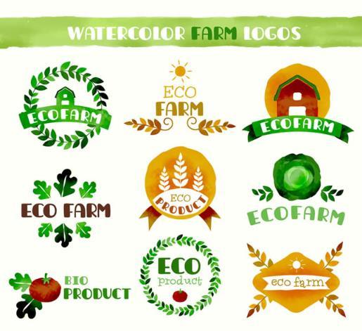 彩绘创新生态农耕标志矢量素材