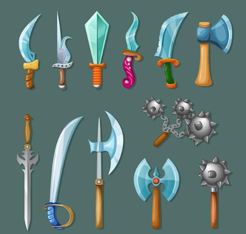 > 卡通风格古代兵器设计矢量图下载  兵器通常都出现在古代电视剧中