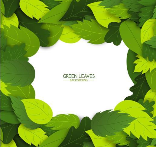 绿叶植物边框背景矢量图片素材
