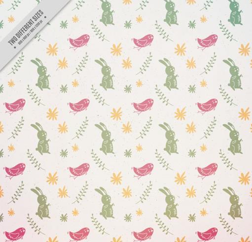 卡通兔子与小鸟无缝背景矢量图片素材