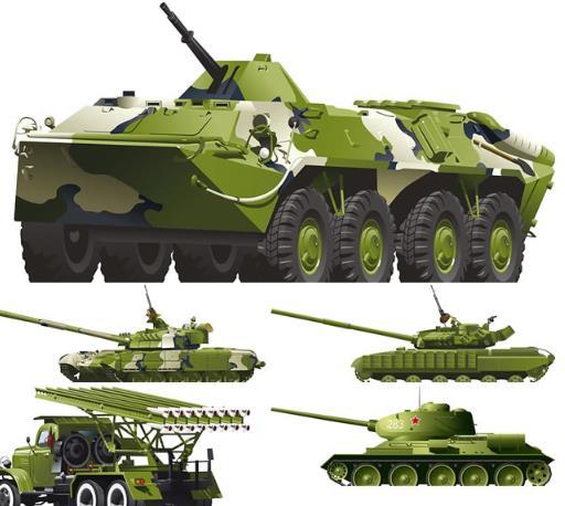 创新军事机械装甲车及坦克矢量图片素材