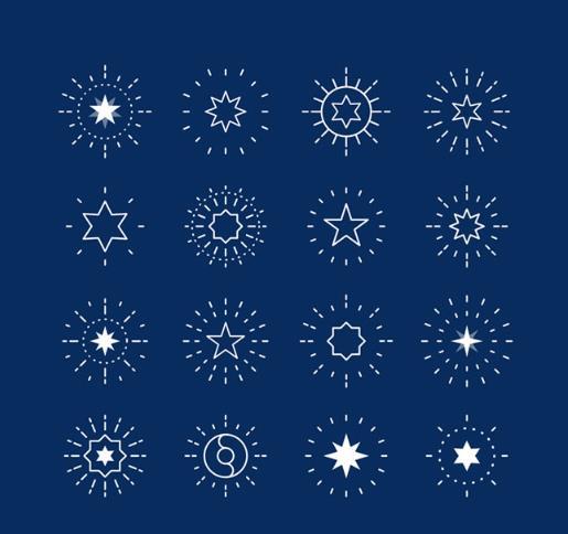 创意蓝色背景星星图标矢量图片素材