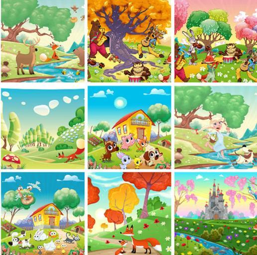 卡通多彩可爱动物风景插画设计ai格式