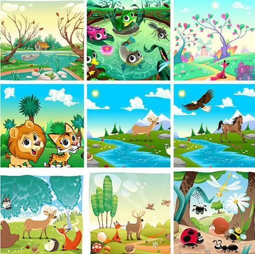 9款卡通彩绘q版动物风景设计矢量图