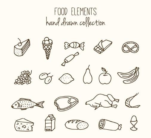手绘蔬菜水果食物矢量素材