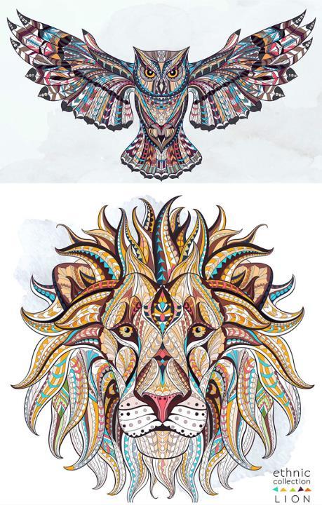 彩色猫头鹰与狮子创意设计ai素材