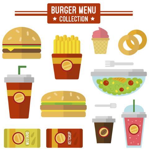 卡通扁平化快餐食物矢量图
