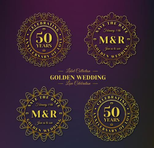 金色奢华花纹标签矢量图片素材