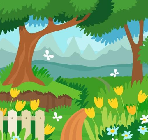 卡通郊外彩色花园风景矢量图片素材图片