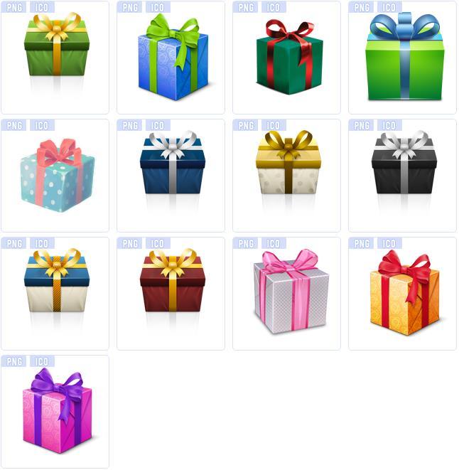 多彩立体精致礼品盒ico图标