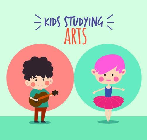 卡通弹吉他的男孩和跳舞的小女孩ai素材