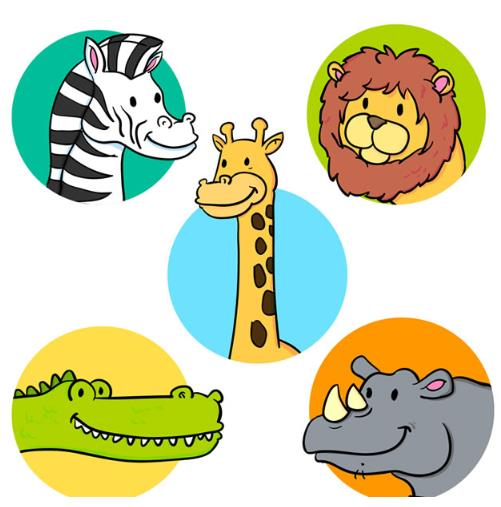 动物可是人类最好的朋友,不但要爱护他们还要珍惜它们,圆形背景卡通动物头像设计AI格式中就为设计者们准备了五组动物的卡通头像设计,其中都有斑马,狮子,长颈鹿,鳄鱼,还有犀牛等五种,其中都是以超级可爱的卡通形式展现的,而且头像背景分别在圆形带颜色的背景中呈现,需要就来本站看看吧。