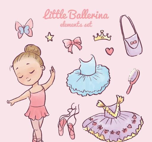卡通可爱芭蕾舞女孩和配饰矢量图