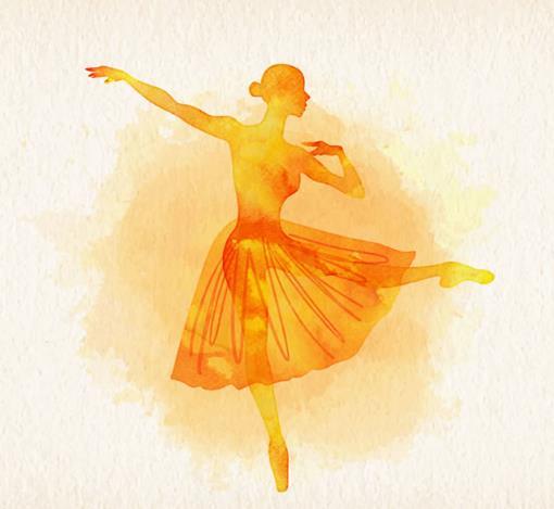 唯美彩绘橙色剪影芭蕾舞女郎矢量素材