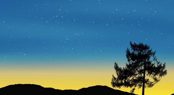 你仔细观察过夜晚的景色吗?夜晚的景色是最迷人的哦!星空夜晚山脉剪影高清图片中为大家展现的是蓝色的星空,还有许多的小星星,太阳照射在天上,显出黄色的光,看上去是那么的美丽,还有树木倒映在其中,真实大自然给予的最漂亮的景观,看不到的人们肯定会有所惋惜,你肯定不想成为那个后悔的人吧!