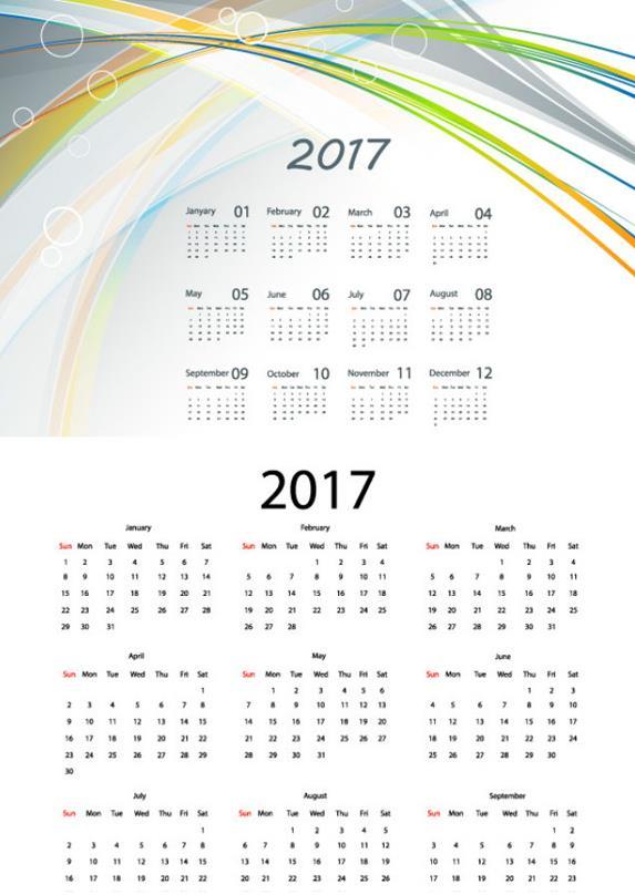 2017年历彩色线条设计ai格式