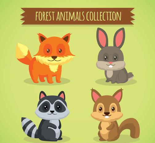 以卡通形式绘画的小动物都是超级萌的,其中森林里的呆萌小动物矢量素材中就为大家设计了4种呆萌又可爱的小动物哦,都有可爱的狐狸,兔子,浣熊,松鼠等四种动物哦,萌萌的大眼睛圆溜溜的超级可爱,背景以绿色呈现的,图片最上方还设计了一组以丝带形式战士的英文字母,需要就来下载吧。
