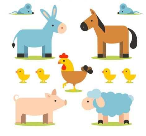 卡通农场小动物矢量图片素材
