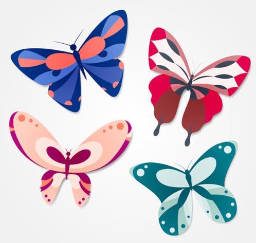 首页 资源下载 平面素材 矢量素材 动物 > 彩色卡通蝴蝶造型ai格式图片