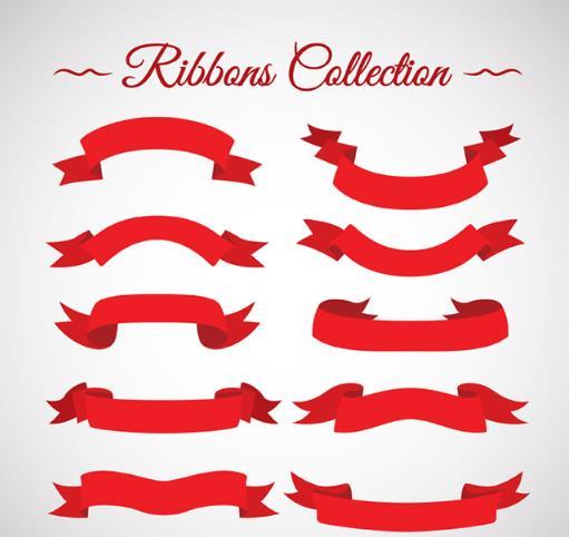 创意红色丝带条幅矢量素材