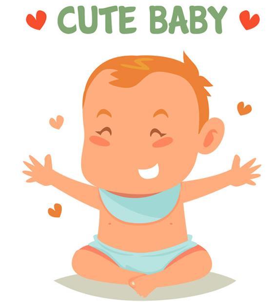 卡通大笑婴儿爱心矢量图片素材