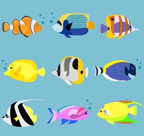 卡通热带海洋鱼类矢量素材
