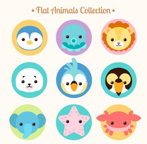 卡通圆形可爱动物头像矢量图片素材