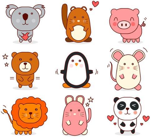 9款卡通可爱动物设计矢量图