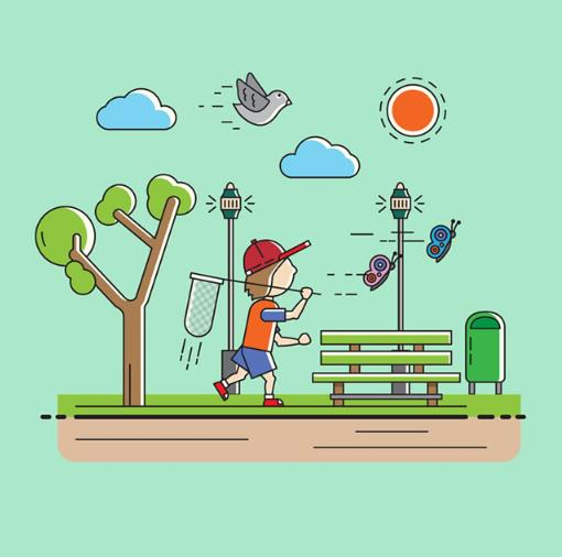 卡通背景郊游的儿童矢量图片素材