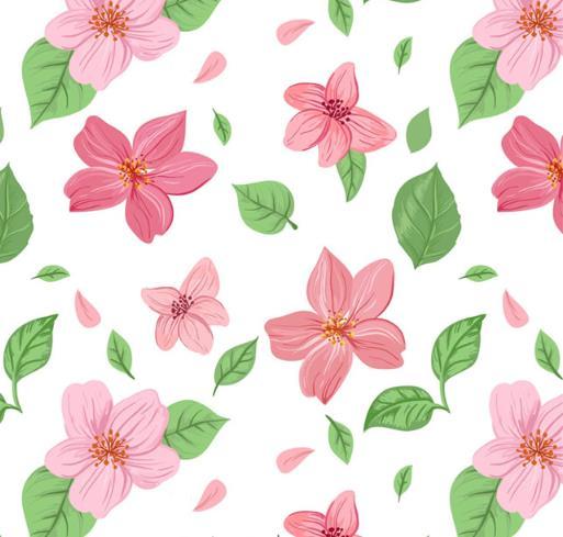 彩色花朵和叶子植物矢量图