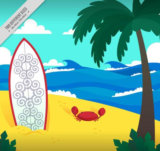 彩色夏日沙滩和冲浪板矢量素材