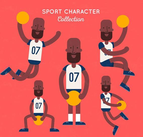 黑人篮球队员矢量图片素材
