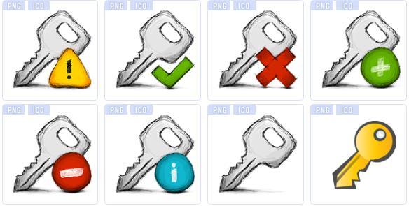 创意手绘钥匙ico图标素材