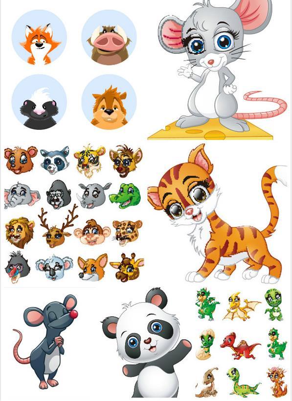 卡通彩色可爱动物矢量素材