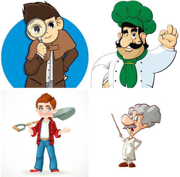 矢量素材 人物 > 4款卡通职业人物ai格式下载  博士,厨师,侦探,劳动者