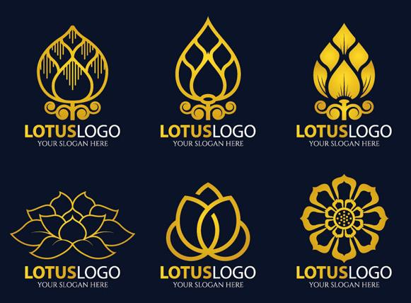 金色莲花logo设计矢量图