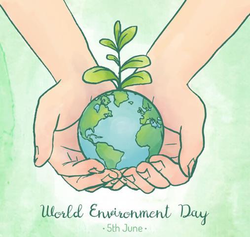 世界环境日手捧地球简笔画设计矢量图下载