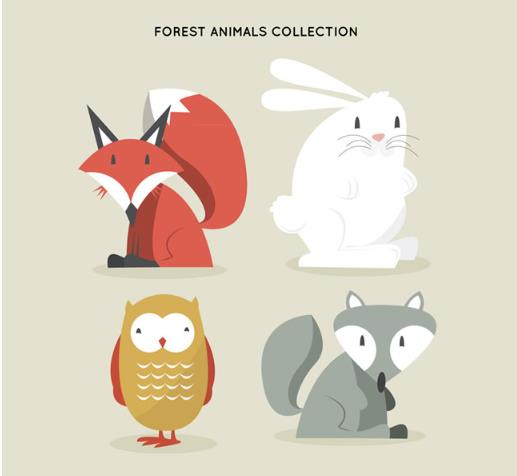 卡通呆萌森林动物设计ai格式