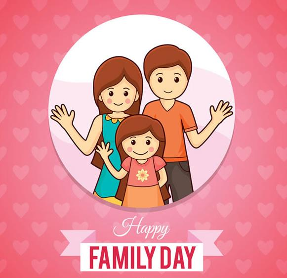 一个家庭的组成是由妈妈,爸爸,孩子所组成的,那么这款粉色爱心背景开心三口之家矢量素材中就为大家设计了一组以家庭为题材的图片,其中圆形中间设计了做出打招呼动作的三口之家,而圆形背景外面则是以粉色爱心为背景设计的,下方设计了以丝带形式展现的英文字母图样。