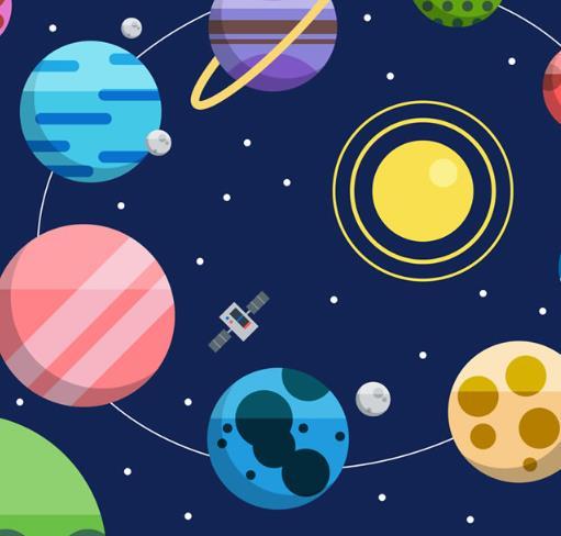 扁平化卡通太空星球和飞船矢量素材