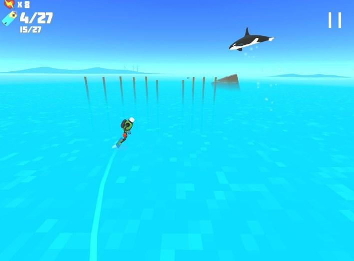 然而游戏中变得越发密集的障碍却让人无心看风景。我们不仅要躲过吃人的鲨鱼,还要在毫无缝隙的激光墙上游走,甚至还得去带着高压电的电线上闯一闯。跟随着主角漂移的过程中,一个关于机器人和荒凉世界的故事也开始上演。 游戏的玩法就是控制这个滑板小人躲避各种障碍物。目前,游戏共设计了18个风格各异的关卡,3个无尽挑战关。在每一关里会提供一定数量的燃料供玩家收集。