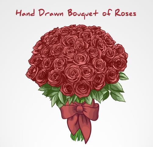 手绘红色玫瑰花蝴蝶结设计ai素材