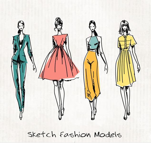 彩绘和手绘时尚美女模特设计矢量图