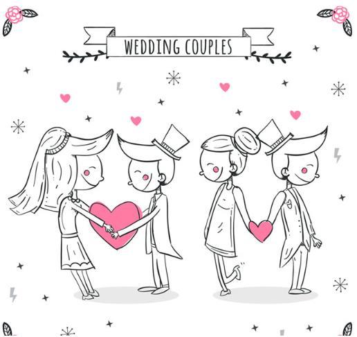 步入婚礼殿堂的人脸上都洋溢着幸福甜蜜的表情,手绘爱心可爱婚礼新人矢量素材设计中就是以两对新人为主题设计的手绘新人形象,两对新人一个是面对面手捧爱心的造型,另一个则是背对着背手牵爱心的造型设计,其中一致的是它们脸上都洋溢着幸福的微笑,设计师们需要就来本站下载吧。
